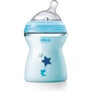 Biberon Chicco Natural Feeling, cu tetina debit mediu, 2 luni +, 250 ml, Bleu
