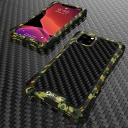 R-JUST ShocKproof Carbon Fiber Skin Silicone + Metal Back Case for iPhone 11 Pro Max 6.5 inch (2019) - Black/Camouflage