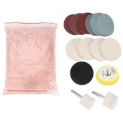 DIY Crafts Glass Polishing Kit Cerium Oxide Polishing Powder Felt Polishing Wheel Set for Windscreen and Glass Backing Pad with M10 Drill Adapter Polish Metal Car Body (30 Gram Pack Kit Light Pink)