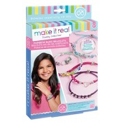 Make It Real Rainbow Bling Bracelets. DIY Bead & Knot Bracelet Making Kit for Girls. Arts and Crafts Kit to Design and Create Unique Tween Knot Bracelets with Wax Cord, Beads, Charms & Gem Links