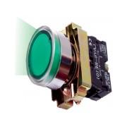 Buton de comanda luminos, revenire cu bec (cap+ etrier+modul lampa+ bec+1ND), verde, RI 5