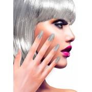 Zilverkleurige glitter nep nagels voor volwassenen - Schmink