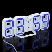 Despertador digital del LED 3D? reloj de mesa moderno del escritorio de la pared con snooze - luz azul