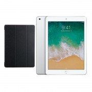 "Apple iPad 9.7"" (2018) 32GB Wifi with Generic iPad 9.7"" (2018) Folding Case (Black) - Silver (with 1 year official Apple Warranty)"
