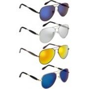 NuVew Aviator Sunglasses(Blue, Golden, Silver, Blue, Violet)
