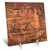"""3dRose USA-Southwest-Indian Petroglyphs en Piedra Arenisca Reloj de computadora, 6"""" x 6"""