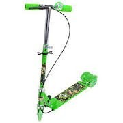 Three Wheeled Height Adjustable Scooter with Hand break and Bell with Wheel Lights and Anti Slip Foot Grip, (Green)