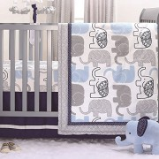 Little Peanut Navy Blue and Grey Elephants 3 Piece Baby Crib Bedding Set