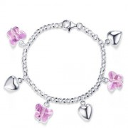 Bratara pentru Copii Borealy Argint 925 Pink Heart Butterfly