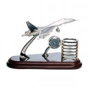 Avion ceas pentru birou cu suport de pixuri