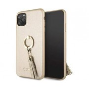 Apple GUESS Saffiano Hard Case w/ Ring Stand Beige for Apple iPhone 11 Pro Max