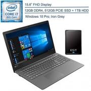 "Lenovo 2020 V330 15.6"" FHD Business Laptop Computer, 8th Gen Intel Quad-Core i7-8550U Up to 4.0GHz, 12GB RAM, 512GB PCIE SSD + 1TB HDD, Windows 10 Professional + EST 500GB External Hard Drive"