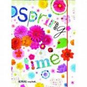 Caiet My.Book Flex A5 2 x 40 file 80gr dictando + patratele coperta PP Spring Time elastic rosu