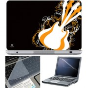 Finearts Laptop Skin 15.6 Inch With Key Guard & Screen Protector - Guitar Yellow White