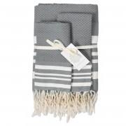 1 Set de salle de bain Hamptons gris moyen/blanc - 100x200/50x70 cm