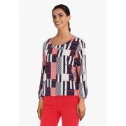 Giana Vera Witte blouse met blauw-rode geometrische print