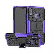 JHM-MX JHMJHM La Caja del teléfono móvil Funda a Prueba de Golpes TPU PC de Texture Texture for Huawei Honor 10 Lite/P Smart (2019), con Soporte Cubierta para Huawei teléfono (Color : Púrpura)