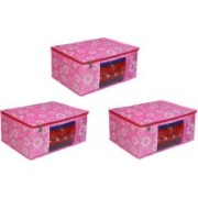 Fancy Walas Presents non woven saree cover storage bags for clothes With primum quality saree cover fancy saree cover with zip combo offer low price & cloth organizer for wardrobe FW218_PINK_PK03(Pink)