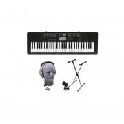 Casio CTK2400 PPK 61-Key Teclado Portátil Paquete Con Auriculares Samson HP30, Stand Y Fuente De Ali
