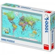 Puzzle clasic pentru familie si copii - Harta Politica a Lumii ,1000 piese