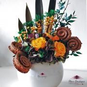 """""""Yellow Roses Forever"""" Aranjament floral trandafiri stabilizati - AFS001"""