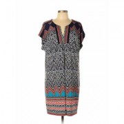 Laundry by Shelli Segal Casual Dress - Mini: Blue Chevron/Herringbone Dresses - Used - Size Large
