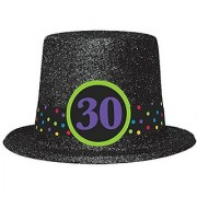 The Party Continuous 30th Birthday Party Glitter Top Hat Black 9.5 Glitterred Fabric