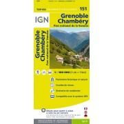 Fietskaart - Wegenkaart - landkaart 151 Grenoble - Mont Blanc- Chambéry - Annecy | IGN