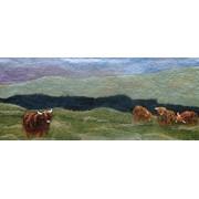 Art Felt Artfelt Scottish Landscape Picture Kit with Highland Cattle- a Carefully Designed Felting to Make Felted Online Tutorial.