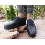 Pantofi femei de toamna din piele box, albastru, captusala piele, talpa ortopedica, 1201, Ana Viotti