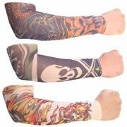 Tahiro Multicolour Cotton Tattoo Print Arm Sleeves - Pack Of 3