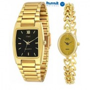 HWT Formal Metal Gold Analog Quartz Black Rectangle Oval Couple Watches combo