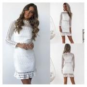 Vestido Casual en Encaje E-Thinker-Blanco
