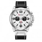 Ceas Curren Barbatesc Quartz Casual Elegant Silver-alb PN999496SAB curea din piele afisaj Analog