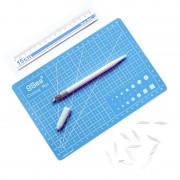9Sea A5 Cutting Mat Set Cutting Mat & Ruler & Carving Knife(Blue)