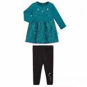 Petit Béguin Robe fille en molleton et legging contenant du coton bio Chat plane - Taille - 36 mois