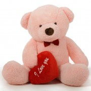 2 feet big pink teddy bear with red I Love You Heart