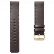 Lucleon Bracelet de montre en cuir marron foncé à boucle dorée
