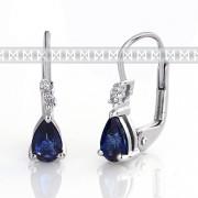Luxusní diamantové náušnice s diamanty a modrým přírodním safírem