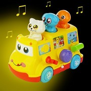 School Bus Toy W/ 3 Figures, Bump N Go Action With Light and Sound- Great Gift for Toddlers & Children By Twinkle Me