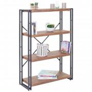 Bücherregal HWC-A27, Standregal Wohnregal, 121x80cm 3D-Struktur 4 Ebenen, Wildeiche-Optik ~ Variantenangebot