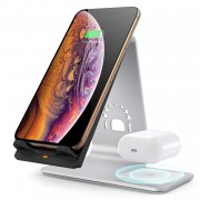 BESTAND H07W 2-in-1 Stand Qi Wireless Charger Bracket Fast Charging Station - Silver