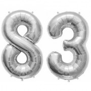 Stylewell Solid Silver Color 2 Digit Number (83) 3d Foil Balloon for Birthday Celebration Anniversary Parties