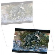 ECOeverywhere Fishing Bear Boxed Card Set 12 Cards and Envelopes 4 x 6-Inches Multicolored (bc14398)