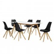 [en.casa] Set de comedor mesa bambú / blanca 180x80 + 6 sillas negras tapizadas piel sintética