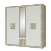 5-ajtós szekrény tükörrel, tölgyfa sonoma trüffel - fehér, MEDIOLAN