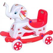 Babyjoys Musical baby Elephant Rider white & Red (Appu Raja)
