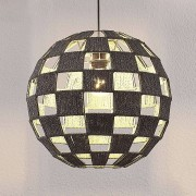 Lampenwelt.com Hanglamp Jiliana, grijs, rond, schaakbordpatroon