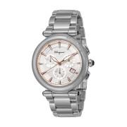 【64%OFF】ラウンドウォッチ クロノグラフ デイト ステンレスベルト メンズ フェイス:ホワイト ベルト:シルバー ファッション > 腕時計~~メンズ 腕時計