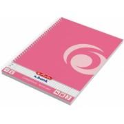 Caiet cu spira A4, 80 file, matematica, perforat, roz indonezia Herlitz